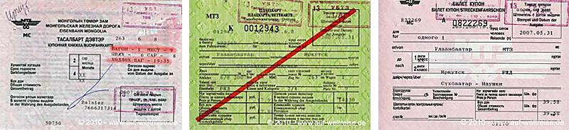 Mongolei - Transsibirische Eisenbahn russisches Zugticket: erste Zeile rot - Zugnummer, Kaufbahnhof, Datum, Abfahrtszeit (Moskauer Zeit), Wagonnummer, Platzkartenreservierung; zweite Zeile - Start- und Zielbahnhof; dritte Zeile rot - Platznummer bzw. Bettnummer