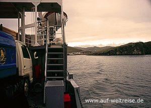 Baikal, Insel Olchon, Russland, Schiff, Überquerung, Wasser, Berge