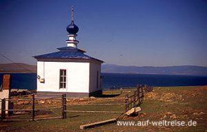 Russland, Baikalsee, Kirche, Chuschir, Orthodox, Glauben, Resigion, Haus, Gebäude, blau, Himmel, Berge