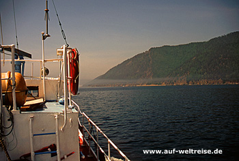 Baikalsee,Russland,Sibirien, See, Schiff, Wasser, Ufer, Himmel, Nebel, Morgennebel