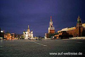 Russland, Moskau, Kreml, Roter Platz,Basilius, Kathedrale, russisch, orthodox, Kirche, Platz, Spasskij Turm, Nacht, Himmel, blau