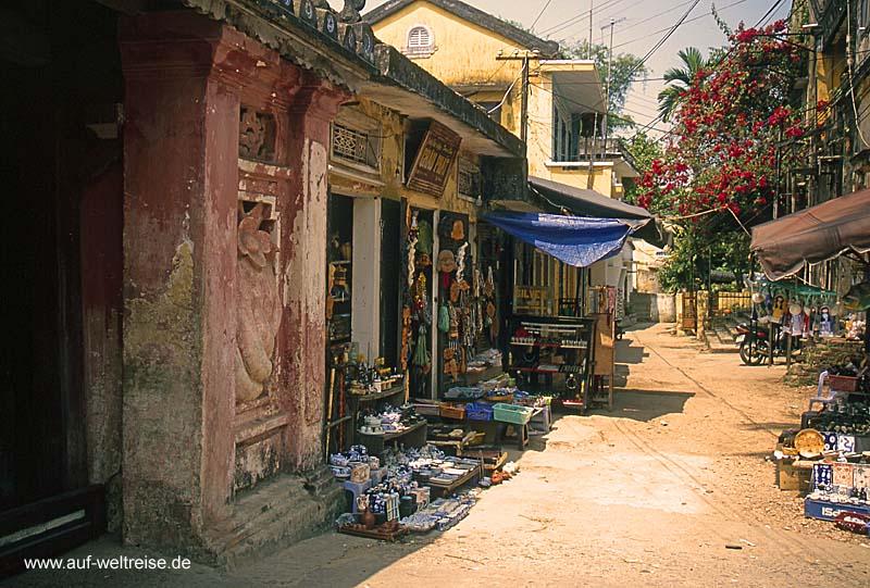 Vietnam, Ho An, Zentralvietnam, Südchinesisches Meer, Museumsdorf, UNESCO, Südostasien, Seidenstraße, Boote, Fluss, historisch Menschen, Wasser, Bäume, Häuser, Geschäfte