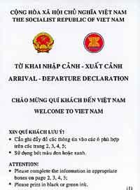 Vietnam Zollerklärung