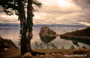 Baikalsee, Insel, Olchon, Schamanenfelsen, Russland, Baikal, Felsen, Glauben, Baum, Fahnen,