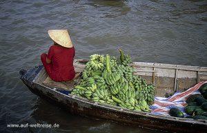 Vietnam, Mekong, Delta, Südostasien, Asien, Boot, schwimmender Markt, Frau, Bananen, Ladung