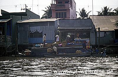 Vietnam, Asien, Südostasien, Mekong, Delta, Wohnhäuser, Fluss