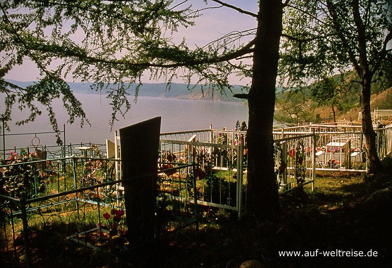 Baikal, Listwjanka, Russland, Sibirien, Friedhof, Bäume, Wasser