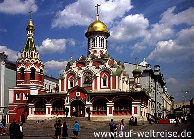 Kasaner, Kathedrale, Russland, Moskau, Kreml, Roter Platz,Basilius, Kathedrale, russisch, orthodox, Kirche, Platz, Spasskij Turm, Nacht, Himmel, blau, Kirche