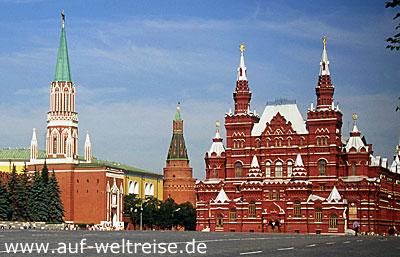 Historisches Museum, Russland, Moskau, Kreml, Roter Platz,Basilius, Kathedrale, russisch, orthodox, Kirche, Platz, Spasskij Turm, Nacht, Himmel, blau