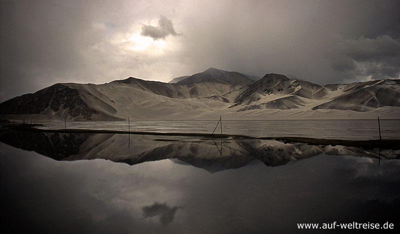 China, Wüste, Asien, Zentralasien, Sand, Wasser, See, Sandwüste, Regen