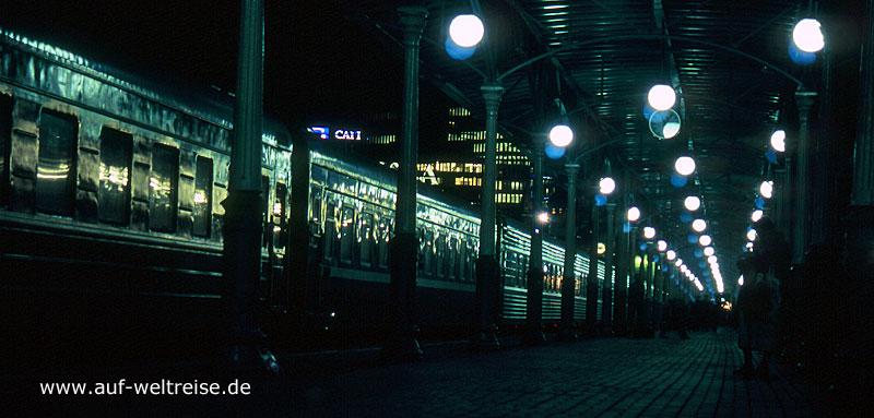 Bahnhof, Smolensk, Russland, Russische Föderation, Gebäude, Gleise, Zug, Bahn, Eisenbahn, Fahrt, Nacht, Nachtfahrt