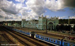Bahnhof, Smolensk, Russland, Russische Föderation, Gebäude, Gleise, Zug, Bahn, Eisenbahn, Fahrt