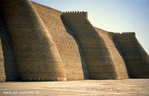 Ark, Festung, Zentralasien, Usbekistan, Seidenstraße, Mittelasien, Buchara, Mauer, Bauwerk, Architektur, Mauerwerk, Schutz, Wall, Platz, groß, Himmel, blau, wolkenlos