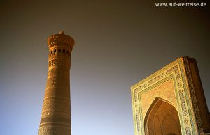 Buchara, Usbekistan, gelb, historisch, Zentralasien, Mittelasien, Minarett, Kalon-Minarett, Moschee-Kalan, Moschee