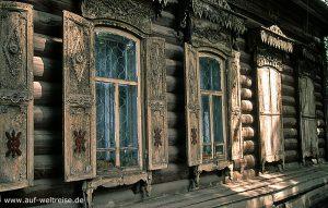 Russland, Irkutzk, Holzhaus, Bauwerk, Architektur, Sibirien, Fenster, Holz, Holzbauweise
