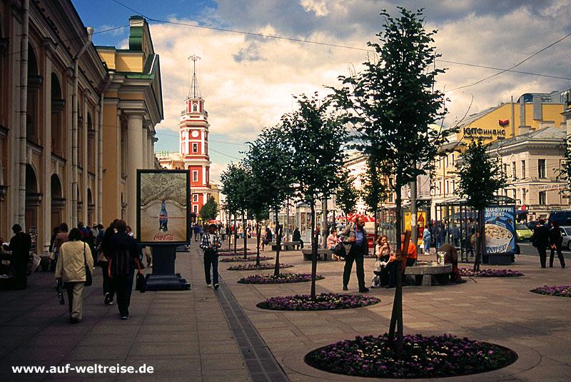 Russland, Russische Föderation, Europa, Osteuropa, Petersburg, Admiralität, Brunnen, Bauwerk, Platz, Newskij Prospekt, Bäume, Himmel, Architektur, Gostinyj Dvor,