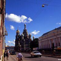 Russland, Petersburg, Blutkirche, Christi-Auferstehungs-Kathedrale, Kirche, orthodox, Mosaik, Museum, Alexander II., Alexandr II, Reformzar, Türme, Zwiebeltürme, Himmel, blau, Europa, Osteuropa