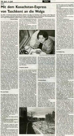 Deutsche Allgemeine Zeitung, Kasachstan
