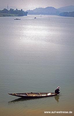 Vietnam, Boot, Fischer, Mann, Wasser